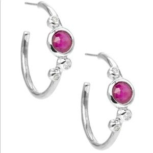 Ippolita silver rain  diamond ruby hoop earrings